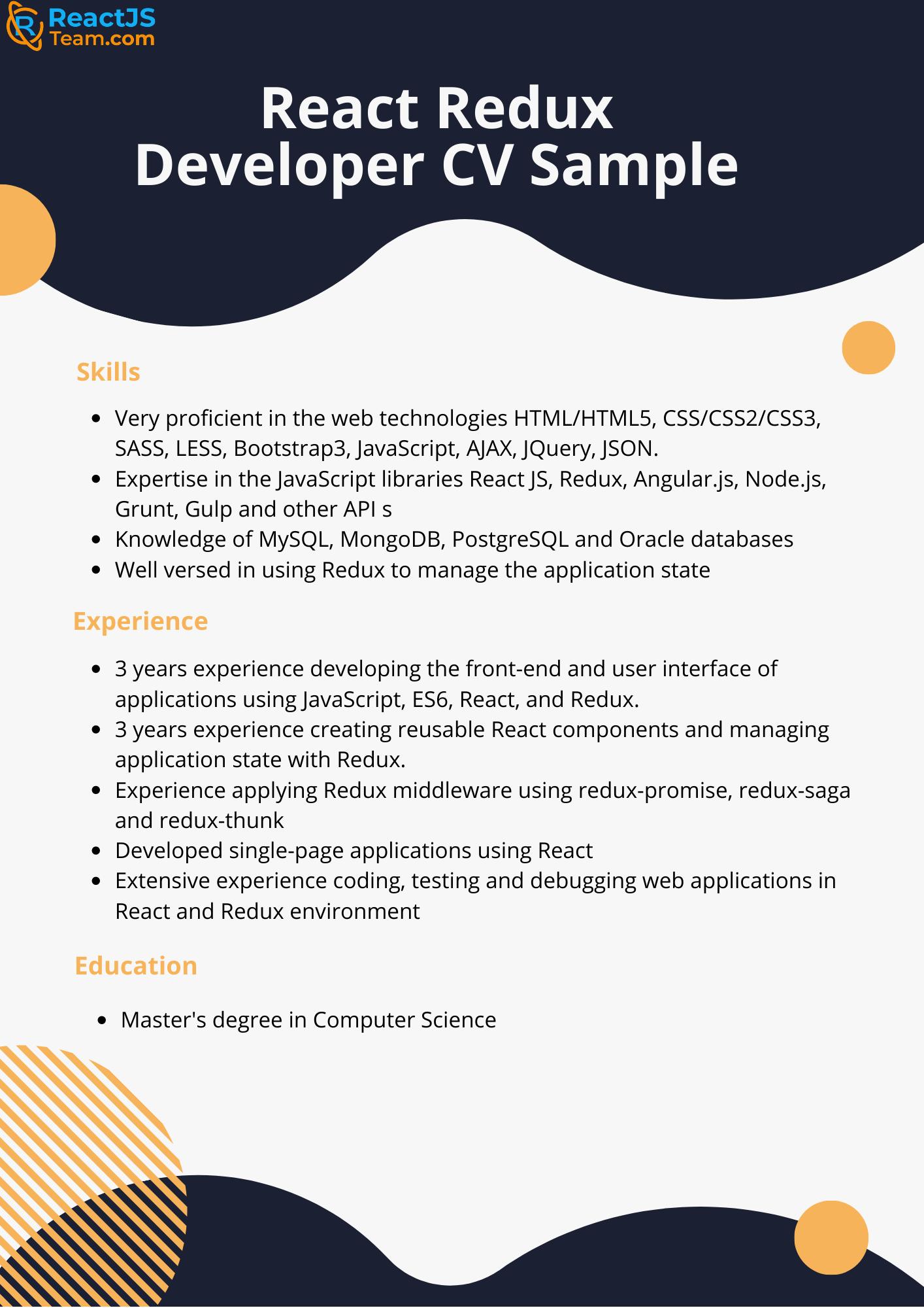 React JS developer resume sample