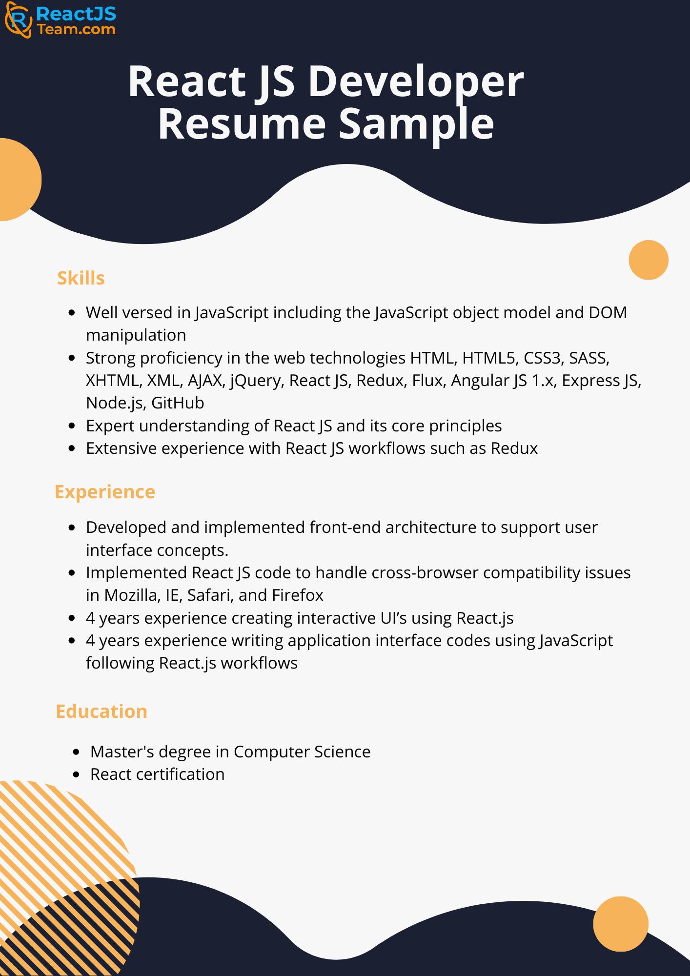 React Redux sample resume